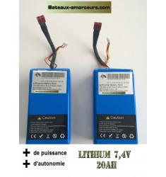 X 2 batteries lithium 20ah pour smart bait boat